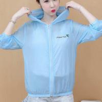 Zipper Closure See Through Nylon Hooded Jacket - Blue