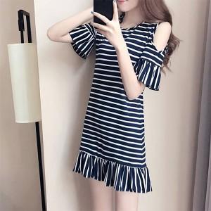 Cold Shoulder Striped Mini Dress - Black