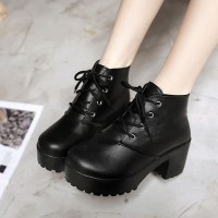 Lace Closure Thick Sole Women Fashion Boots - Black
