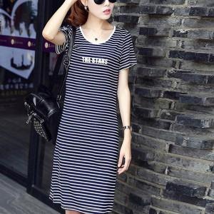 Round Neck Short Sleeves Casual Wear T-Shirt Dress - Black
