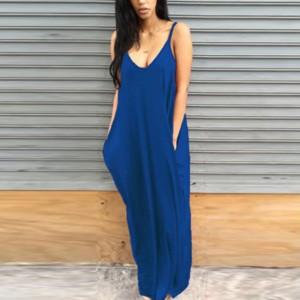 Strap Shoulder Loose Maxi Full Length Dress - Blue