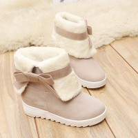 Knotted Suede Cute Women Fashion Flat Shoes - Beige