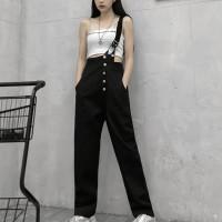 Button Closure Strap Slash Strap Shoulder Bib Pants - Black