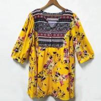 Floral Print V Neck Women Fashion Bohemian Top - Yellow