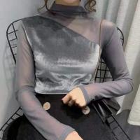 Chiffon O Neck Velvet Party Wear Top - Gray