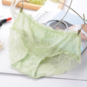 Sexy Lace Seamless Soft Breathable High Waist Female Panties - Light green