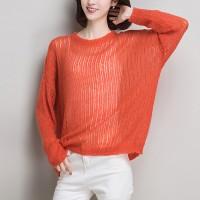See Through Sexy Loose Wear Full Sleeves Top - Orange