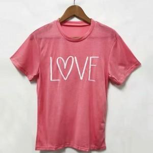Love Printed Valentine Round Neck Casual Wear T-Shirt - Pink