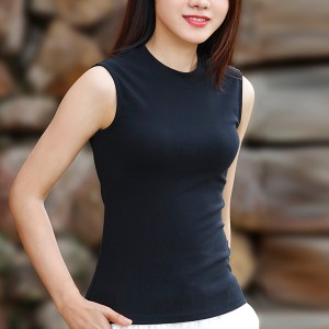 O Neck Sleeveless Solid Color Sando Top - Black