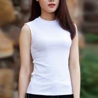 O Neck Sleeveless Solid Color Sando Top - White