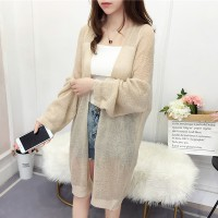 See Through Winter Wear Loose Full Sleeves Cardigan - Apricot