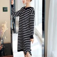 Hoodie Striped Shoulder Long Sleeved Mini Dress - Black