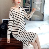Hoodie Striped Shoulder Long Sleeved Mini Dress - White