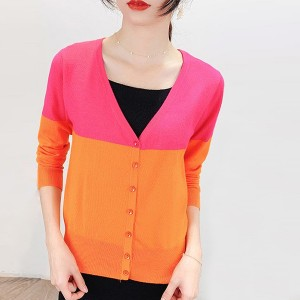 Button Closure Full Sleeves Sweater Cardigan - Multicolor
