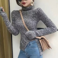 High Neck Full Sleeved Ribbed Bodyfitted Top - Gray