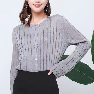 Full Sleeved Striped Button Up See Through Top - Gray