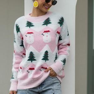 Snow Doll Round Neck Printed Winter Wear Top - Light Pink