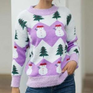 Snow Doll Round Neck Printed Winter Wear Top - Purple
