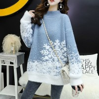 O Neck Loose Wear Winter Special Cotton Sweater Top - Blue