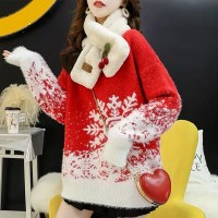 O Neck Loose Wear Winter Special Cotton Sweater Top - Red