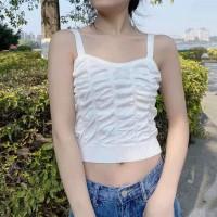 Strapped Shoulder Texture Sleeveless Mini Top - White