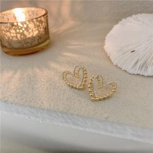 Girls Fashion Rhinestone Double Layer Heart Simple Earrings - Golden