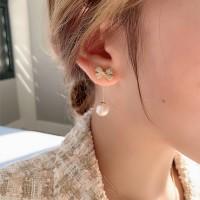 Ladies Fashion Rhinestone Bow Earrings - White