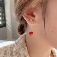 Ladies Fashion Rhinestone Bow Earrings - Red
