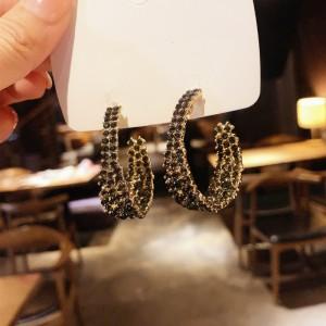 Ladies Fashion Full Rhinestone Shining Earrings - Black
