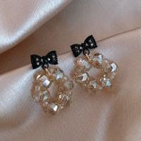 Ladies Rhinestone Bow Crystal Earrings - Black
