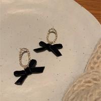 Ladies Rhinestone Bow Earrings - Black Gold