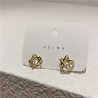 Ladies Rhinestone Star Simple Earrings - Golden