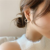 Ladies Rhinestone Heart Tassel Simple Earrings - Golden