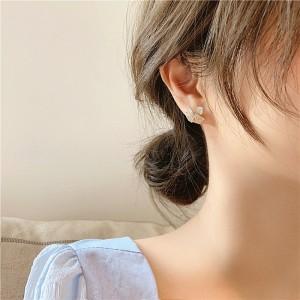 Woman Fashion Rhinestone Simple Earrings - Golden
