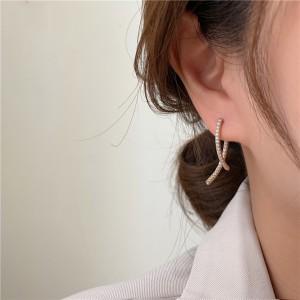 Women Rhinestone Alloy Decoration Earrings - Golden
