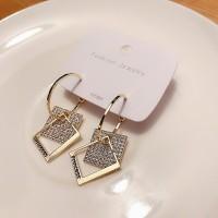 Women Full Rhinestone Square Earrings - Golden