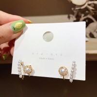 Women Fashion Pearl Earrings - White Gold