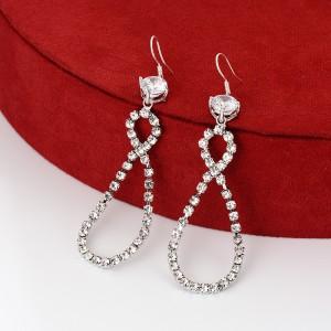 Girls Rhinestone Decorative Earrings - Silver