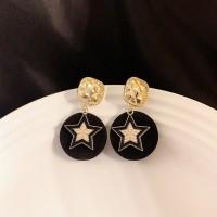 Ladies Fashion Simple Star Earrings - Black Gold