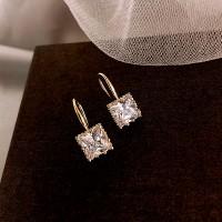 Ladies Simple Elegant Crystal Earrings - Transparent