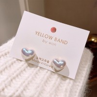 Girls Elegant Matte Heart Earrings - White