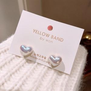 Girls Elegant Matte Heart Earrings - White