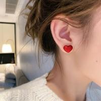 Girls Elegant Matte Heart Earrings - Red