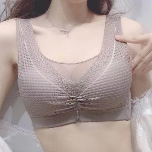 Mesh Pattern Padded Pull Over Casual Bra - Gray