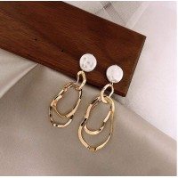 Ladies Pearl Geometric Metal Style Earrings - Golden