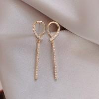 Ladies Rhinestone Fashion Alloy Earrings - Golden