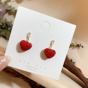 Girls Simple Cute Rhinestone Heart Earrings - Red