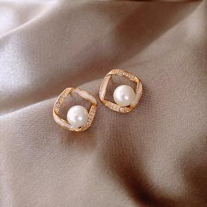 Girls Elegant Pearl With Rhinestone Earrings - Golden