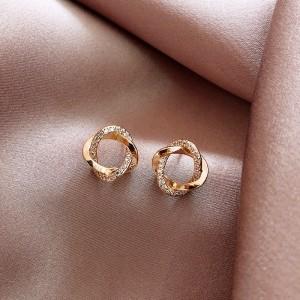 Girls Simple Fashion Alloy Earrings - Golden