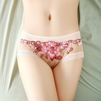 New Sexy Lace Embroidery Lace Seamless Ladies Mesh Briefs - Skin